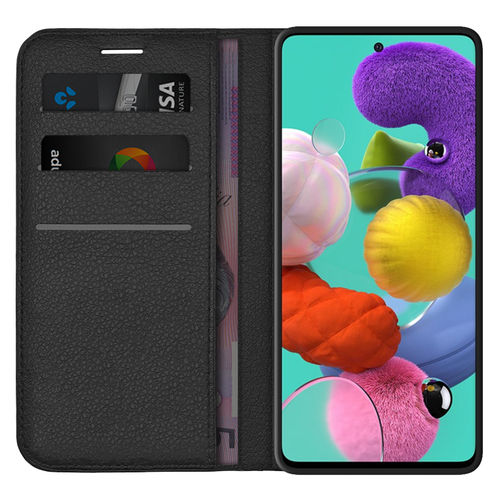 Leather Wallet Case & Card Holder Pouch for Samsung Galaxy A51 - Black