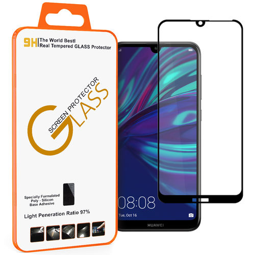 Full Coverage Tempered Glass Screen Protector for Huawei Y7 Pro (2019) - Black