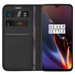 Leather Wallet Case & Card Holder Pouch for OnePlus 6T - Black