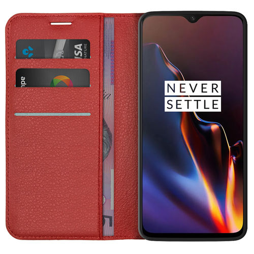 Leather Wallet Case & Card Holder Pouch for OnePlus 6T - Red