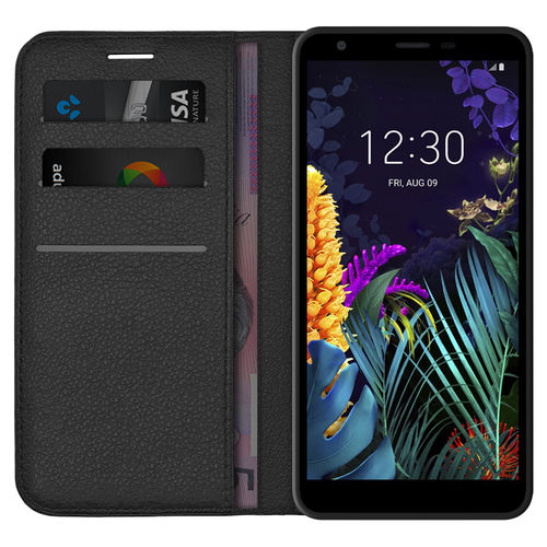 Leather Wallet Case & Card Holder Pouch for LG K30 (2019) - Black