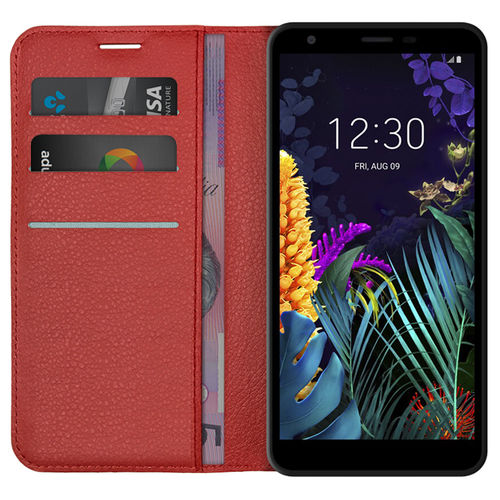 Leather Wallet Case & Card Holder Pouch for LG K30 (2019) - Red