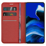 Leather Wallet Case & Card Holder Pouch for Oppo Reno2 Z - Red