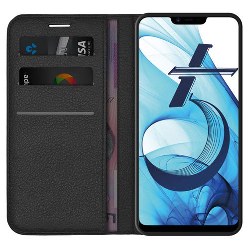 Leather Wallet Case & Card Holder Pouch for Oppo A3s / AX5 (Black)