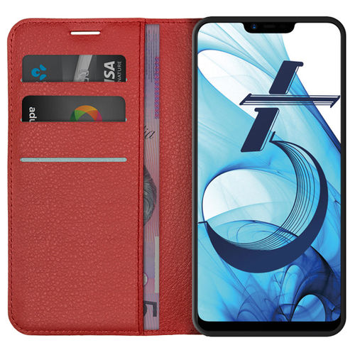 Leather Wallet Case & Card Holder Pouch for Oppo A3s / AX5 (Red)