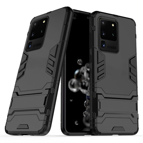 Slim Armour Tough Shockproof Case & Stand for Samsung Galaxy S20 Ultra - Black