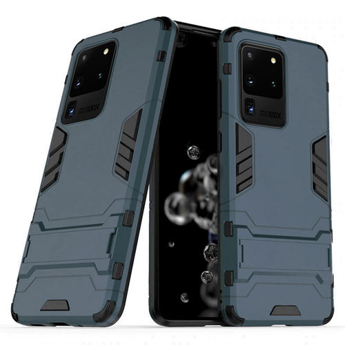 Slim Armour Tough Shockproof Case & Stand for Samsung Galaxy S20 Ultra - Blue