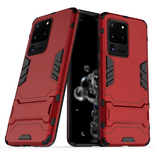 Slim Armour Tough Shockproof Case & Stand for Samsung Galaxy S20 Ultra - Red