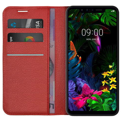 Leather Wallet Case & Card Holder Pouch for LG G8S ThinQ - Red
