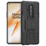 Dual Layer Rugged Tough Case & Stand for OnePlus 8 Pro - Black