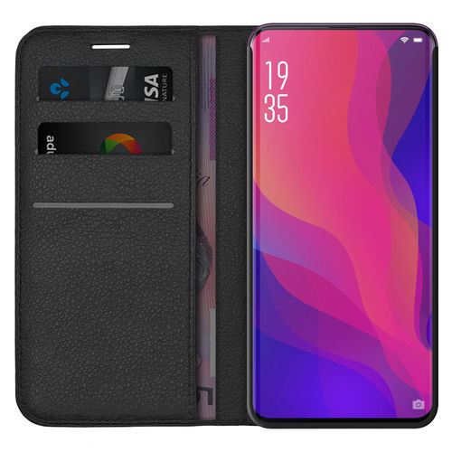 Leather Wallet Case & Card Holder Pouch for Oppo Find X - Black