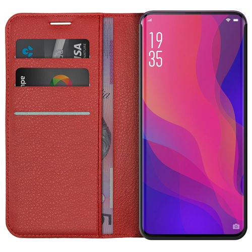Leather Wallet Case & Card Holder Pouch for Oppo Find X - Red