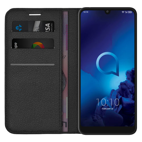 Leather Wallet Case & Card Holder Pouch for Alcatel 3 (2019) - Black