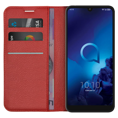 Leather Wallet Case & Card Holder Pouch for Alcatel 3 (2019) - Red