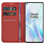 Leather Wallet Case & Card Holder Pouch for OnePlus 8 - Red