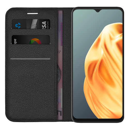 Leather Wallet Case & Card Holder Pouch for Oppo A91 - Black