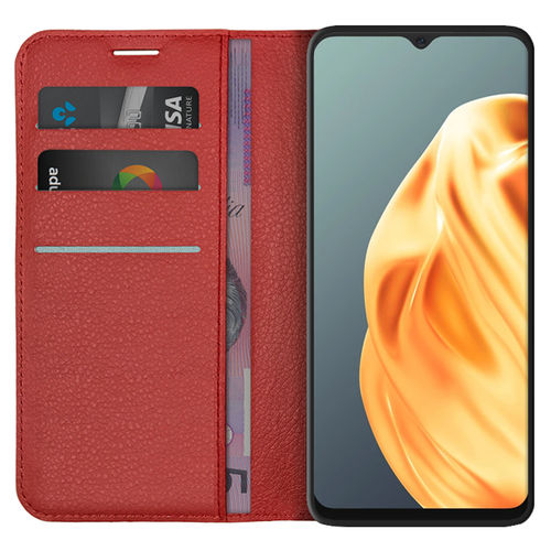 Leather Wallet Case & Card Holder Pouch for Oppo A91 - Red