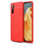 Flexi Slim Litchi Texture Case for Oppo A91 - Red Stitch