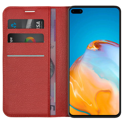 Leather Wallet Case & Card Holder Pouch for Huawei P40 - Red