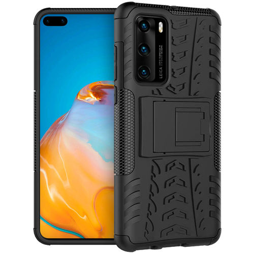 Dual Layer Rugged Tough Shockproof Case for Huawei P40 - Black