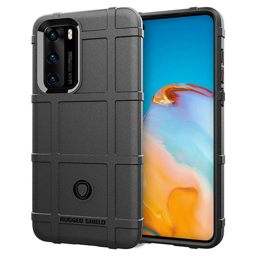 Anti-Shock Grid Texture Tough Case for Huawei P40 - Black