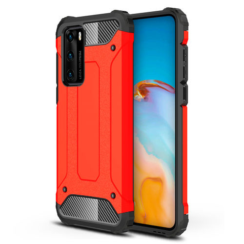 Military Defender Heavy Duty Shockproof Case for Huawei P40 - Red