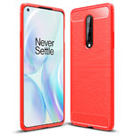 Flexi Slim Carbon Fibre Case for OnePlus 8 - Brushed Red