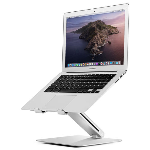 Aluminium Height Adjustable Desktop Stand for Laptop / MacBook - Silver