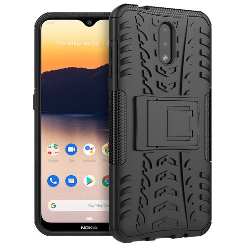 Dual Layer Rugged Tough Shockproof Case & Stand for Nokia 2.3 - Black