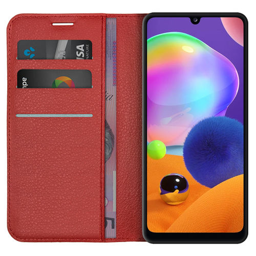 Leather Wallet Case & Card Holder Pouch for Samsung Galaxy A31 - Red