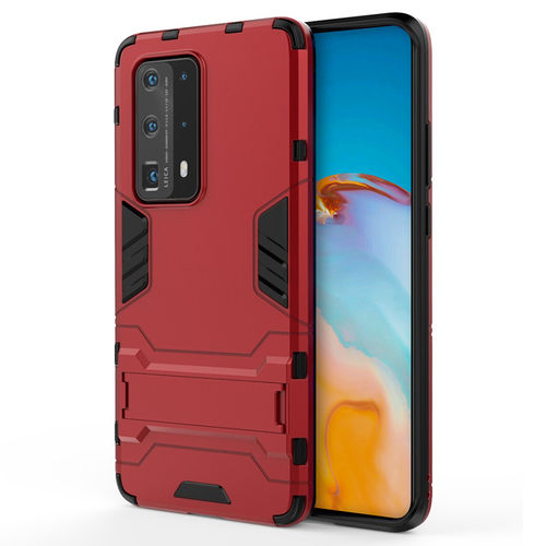 Slim Armour Tough Shockproof Case & Stand for Huawei P40 - Red