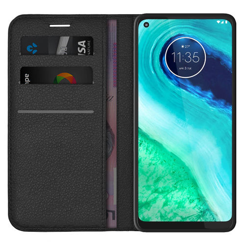 Leather Wallet Case & Card Holder Pouch for Motorola Moto G8 - Black