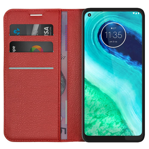 Leather Wallet Case & Card Holder Pouch for Motorola Moto G8 - Red