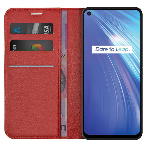 Leather Wallet Case & Card Holder Pouch for realme 6 - Red