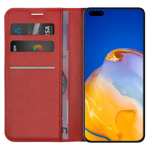 Leather Wallet Case & Card Holder Pouch for Huawei P40 Pro - Red