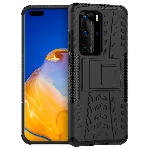 Dual Layer Rugged Tough Shockproof Case for Huawei P40 Pro - Black