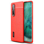 Flexi Slim Litchi Texture Case for Oppo Find X2 Pro - Red Stitch