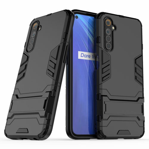 Slim Armour Tough Shockproof Case & Stand for realme 6 - Black