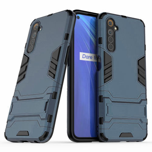 Slim Armour Tough Shockproof Case & Stand for realme 6 - Blue