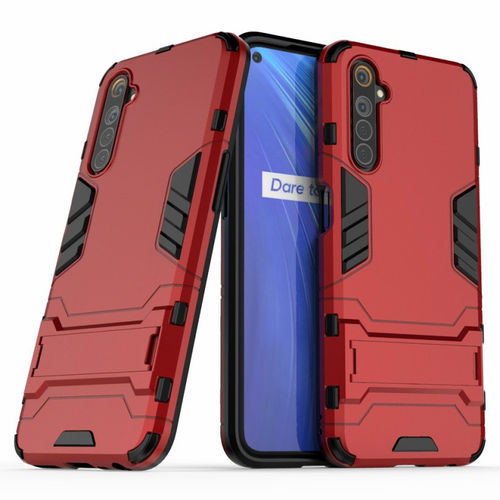 Slim Armour Tough Shockproof Case & Stand for realme 6 - Red
