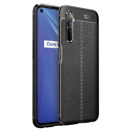 Flexi Slim Litchi Texture Case for realme 6 - Black Stitch