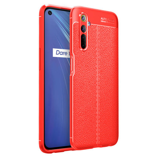 Flexi Slim Litchi Texture Case for realme 6 - Red Stitch