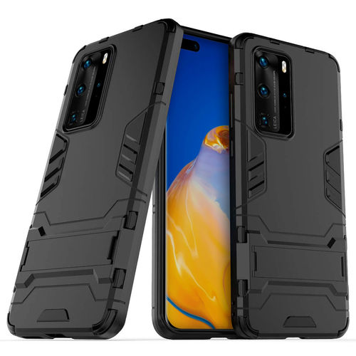 Slim Armour Tough Shockproof Case & Stand for Huawei P40 Pro - Black