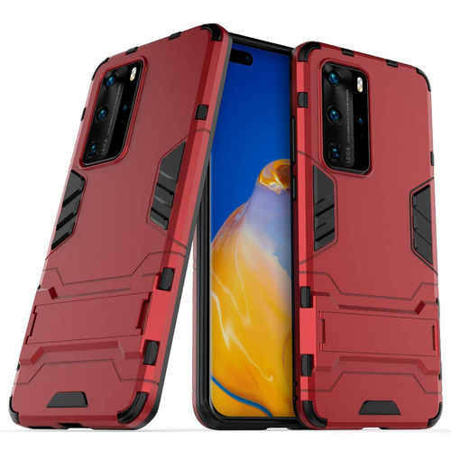 Slim Armour Tough Shockproof Case & Stand for Huawei P40 Pro - Red