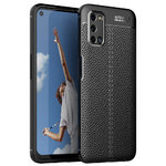 Flexi Slim Litchi Texture Case for Oppo A52 / A72 - Black Stitch