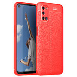 Flexi Slim Litchi Texture Case for Oppo A52 / A72 - Red Stitch