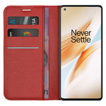 Leather Wallet Case & Card Holder Pouch for OnePlus 8 Pro - Red