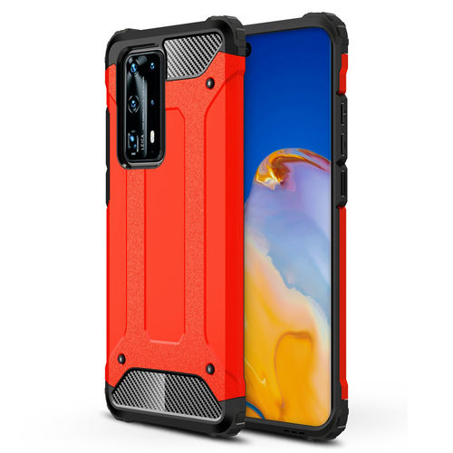 Military Defender Heavy Duty Shockproof Case for Huawei P40 Pro - Red