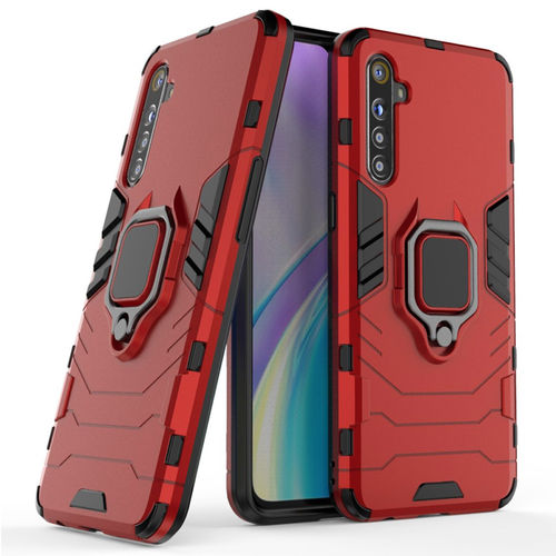Slim Armour Tough Shockproof Case / Finger Ring Holder for realme XT - Red