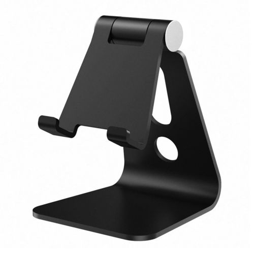 Universal Aluminium Adjustable Desktop Stand for Phone / Tablet - Black